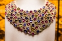 Bib necklace in gold with sapphires and diamonds, 2005