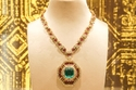Sautoir gold necklace with emeralds, rubies, and diamonds, 1969