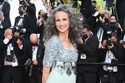 Andie MacDowell L'Oreal muse wore a classic silver grey column dress