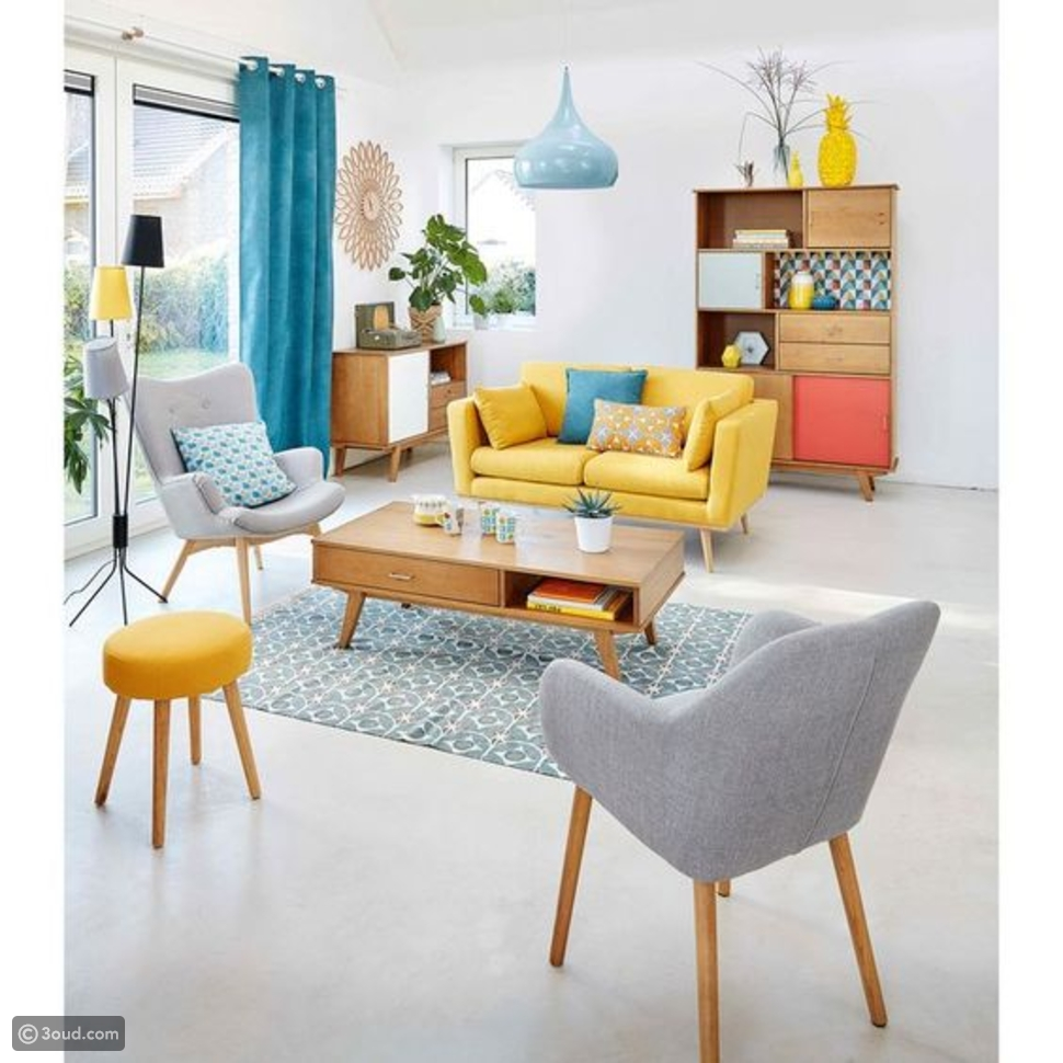 غرف معيشة بألوان مشرقة