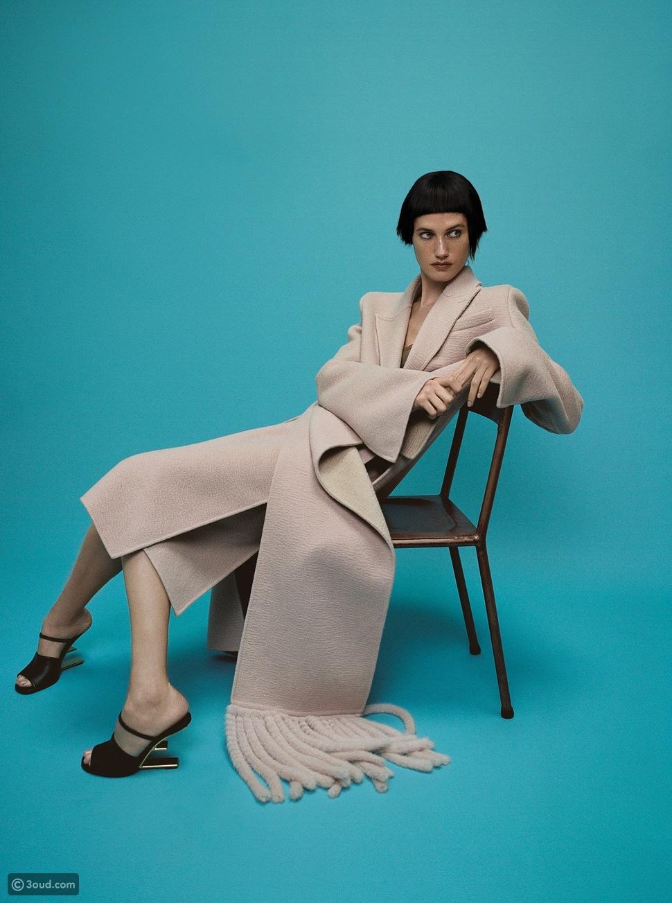معطف ، توب ، تنورة ، وحذاء FENDI