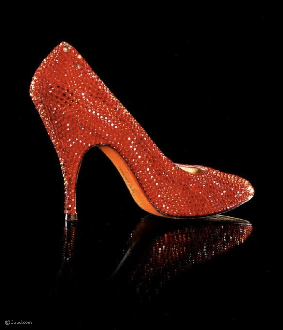 Scarlet satin stiletto heel shoes adorned with rhinestones and owned by Marilyn Monroe,
