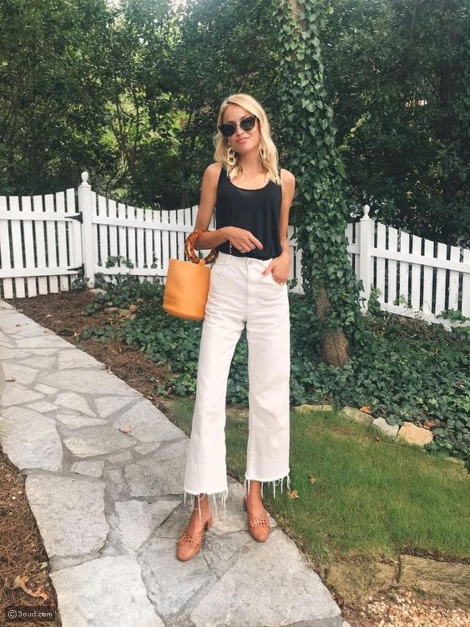 جينز أبيض